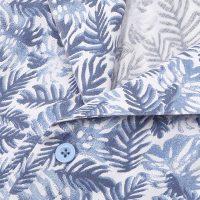 잎프린트서커 오픈카라 레귤러 반소매셔츠 E183R-22372