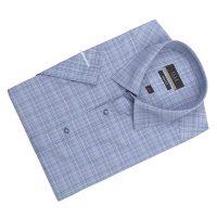 엘르옴므 잔체크 세미와이드 카브라소매 슬림 반소매셔츠 E183S-22842